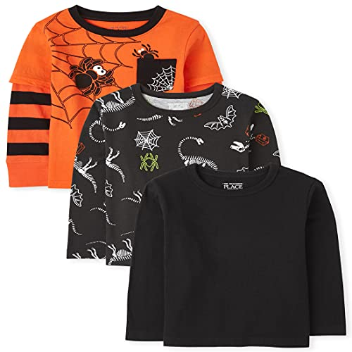 The Children's Place and Toddler Boy Long Sleeve Halloween Top 3-Pack, Multi CLR, 18-24 Months