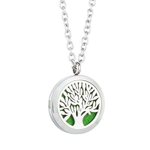 JOYMIAO Baum des Lebens Aromatherapie ätherisches Öl Diffusor Locket Halskette 316L Chirurgische Grade Edelstahl Schmuck 24