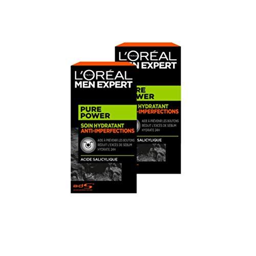 L'Oréal Men Expert - Soin Hydratant Anti-Imperfections pour Homme - Soin du Visage - Pure Power -...