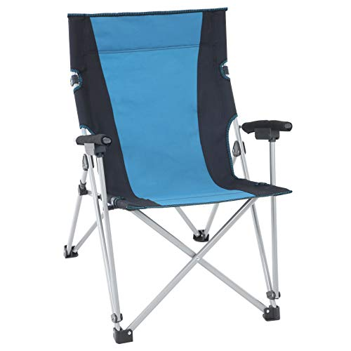 SONGMICS Campingstuhl, Klappstuhl, Outdoor-Stuhl mit komfortablem Sitz, stabiles Gestell, bis 150 kg belastbar, schwarz-blau GCB12AG