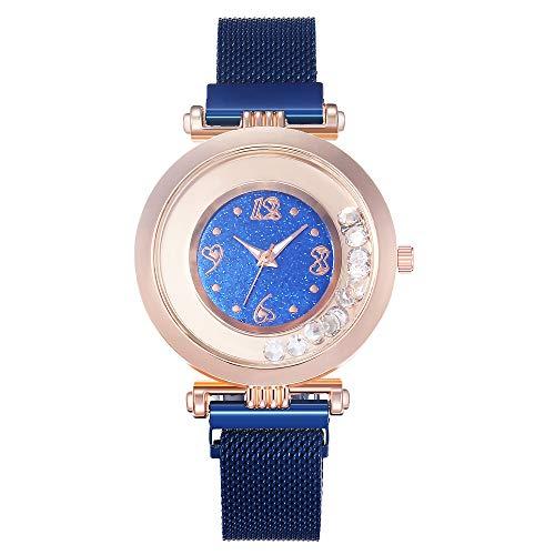 Allskid Mujer Relojes Rodante Pequeña Rhinestone Rosario Marcar Magnético Hebilla Acero Inoxidable Malla Correa Reloj de Pulsera (36mm, Azul)