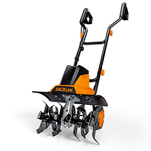 "TACKLIFE Electric Tiller, Tiller, 12Amp, 16 Inch Cultivation Width, 8"" Tilling Depth, 6 Manganese Tines, High Efficiency, Foldable Handle, Convenient Storage"