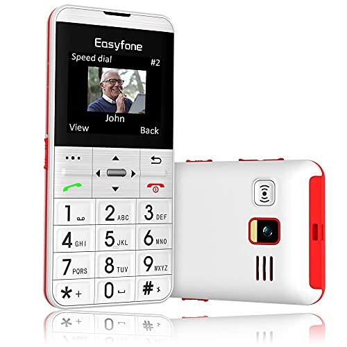Easyfone Prime-A7 GSM Téléphone Portable Débloqué pour Seniors avec Grandes Touches, Écran HD IPS 2,0 Pouces, Bouton SOS avec GPS, Batterie 1500mAh avec Station de Charge (Blanc)