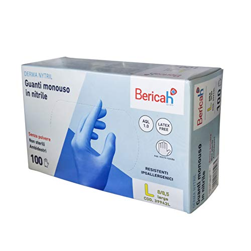 100 Guanti in nitrile senza polvere Latex Free (Large)