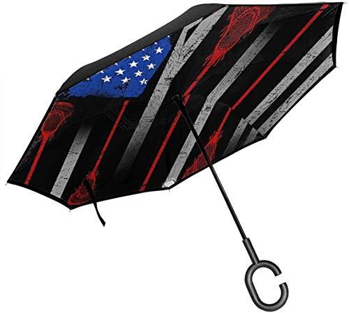 Lacrosse - Paraguas invertido plegable a prueba de viento de doble capa, con protección contra la lluvia al revés, con mango en forma de C, a prueba de rayos UV, paraguas para viajes al aire libre