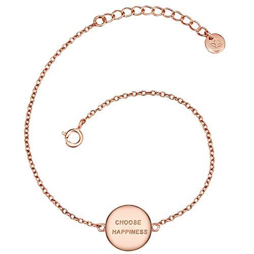 Glanzstücke München Damen-Armband mit Anhänger Choose happiness Sterling Silber rosévergoldet 17 + 3 cm - Armkettchen rose-gold Silberarmkette mit Spruch Freundschaftsarmbänder Arm-Schmuck