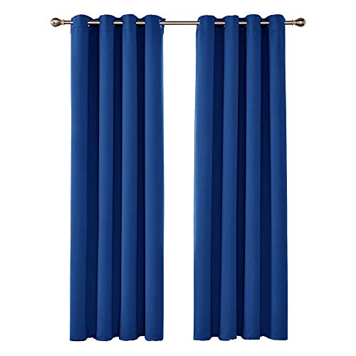 UMI by Amazon Cortinas Opacas de Dormitorio Moderno Térmicas Aislantes Luz para Habitación Suaves 2 Paneles con Ojales 140 x 245 cm Azul Oscuro