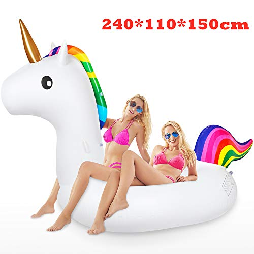 Jojoin Flotador de Piscina Unicornio, Colchoneta Hinchable Unicornio, Flotador Gigante Unicornio en Piscina Playa, Juguete Colchonetas de Verano para Adultos & niños ( 240 x 110 x150cm )