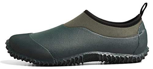 TENGTA Unisex Waterproof Garden Shoes Womens Rain Boots Mens Car Wash Footwear Dark Green 9.5