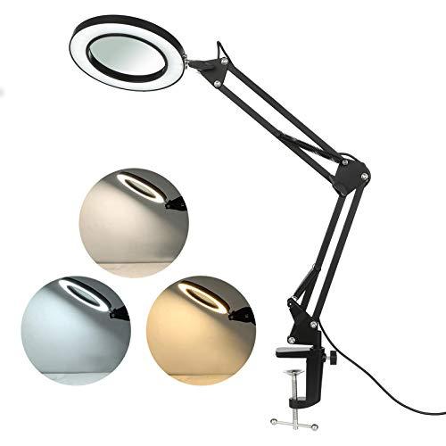 Tomshine 8X Lupenlampe Lupenleuchte Leselupen Lupe Schreibtischlampe mit Klemme 3 Farbmodi/10 Helligkeitsstufen