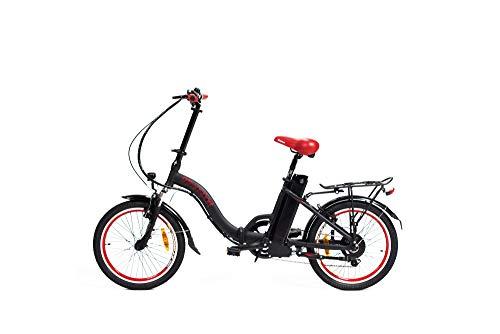 9TRANSPORT E-Bike, Bicicleta Eléctrica Lola Plegable, 250W Motor, 25 km/h Batería 36V 10Ah, Color Negro-Rojo