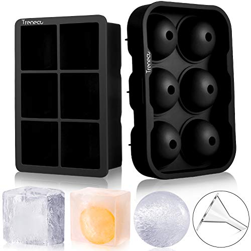 Trenect Ice Cube Trays Silicone (Set of 2), Large Size Sphere Ice Ball Maker with Lids & Square Ice Cube Molds for Whiskey and Cocktails (black)