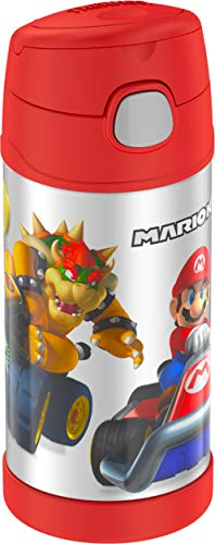 THERMOS FUNTAINER 12 Ounce Stainless Steel Vacuum Insulated Kids Straw Bottle, Super Mario Brothers