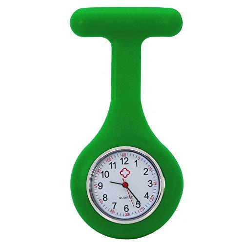 tumundo Infermiera Orologi Accessori Nurse Paramedico Silicone Tascabile Quarzo Spilla Unisex Nero + Confezione Regalo, Variante:Verde