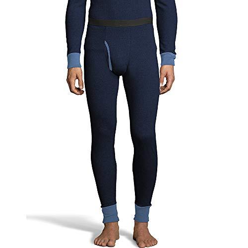 Hanes Mens 2-Color Fusion Knit Thermal Pant (123302) -Navy Combo -S