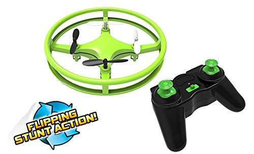 Mindscope Sky Lighter Disc Drone Green Light Up LED Glow Stunt Action Radio Control RC Technology
