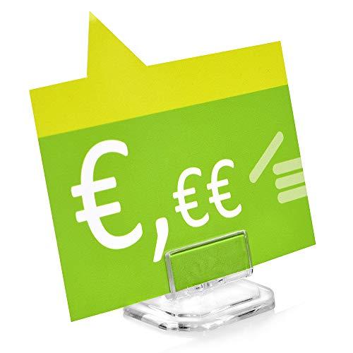 10 soportes para etiquetas de precios, transparentes, inclinables ajustables, para estanterías y vitrinas.