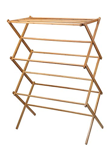 Homeit clothes drying rack  Bamboo Wooden clothes rack  heavy duty cloth drying stand