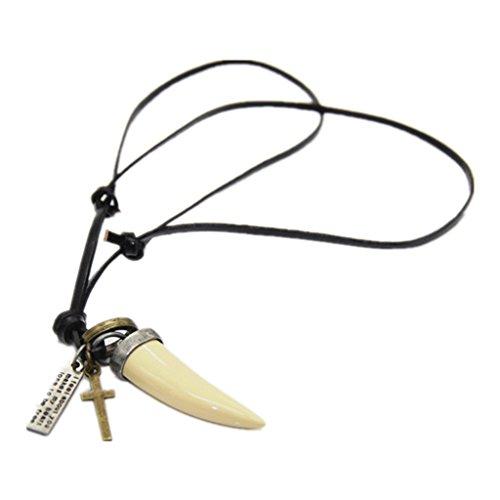 P Prettyia Hombres Chic Animal Largo Diente Negro con Cruz Colgante Collar de Cuerda de Cuero PU - Beige