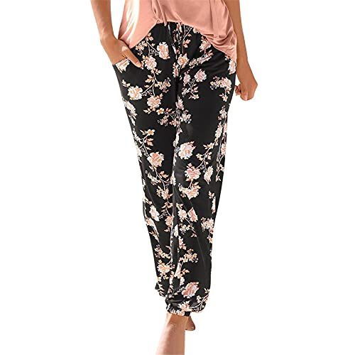 High Waisted Wide Leg Pants for Women Baggy Plus Size Trousers Casual Palazzo Lounge Pants Elastic Waist Loose Wide Leg Drawstring Trousers Capris with Pockets