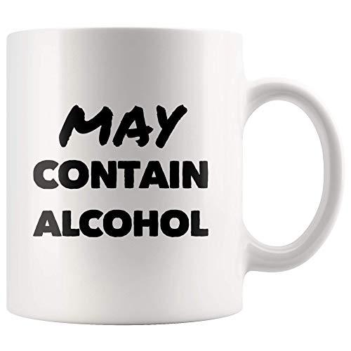 Alcoholische mok met ruimte voor alcohol, wijn, grappig cadeautje voor liefhebbers van alcohol en wijn, collège, mok