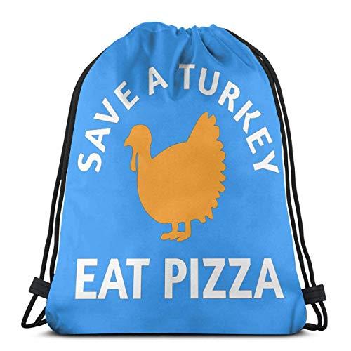 Save A Turkey Eat Pizza Mochila con cordón Mochila Mochilas Bolsas de gimnasia