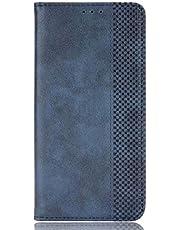 YIKLA Flip folio fodral till Sony Xperia 10 III, premium PU/TPU läderplånbok telefonfodral, med magnetiskt ställ kontanter och kortplatser – blå