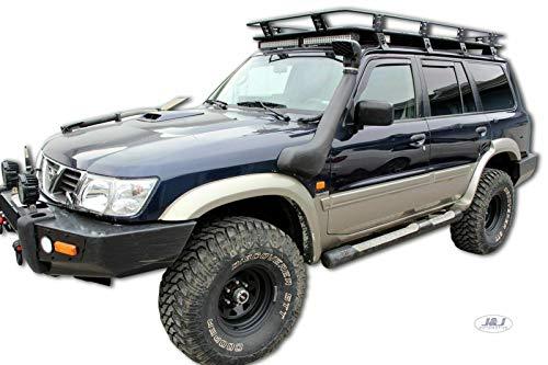 J&J - Deflectores de viento y lluvia automáticos para Nissan Patrol Y61, de 5 puertas a partir de 1997, 4 piezas, color oscuro