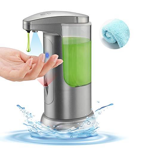 Boperzi Soap Dispenser Automatic Kitchen Touchless Auto Hand Soap Dispenser Infrared Motion Sensor Adjustable Volume Battery Operated Liquid Dispenser with Towel for Bathroom Kitchen 13.5OZ/400ML