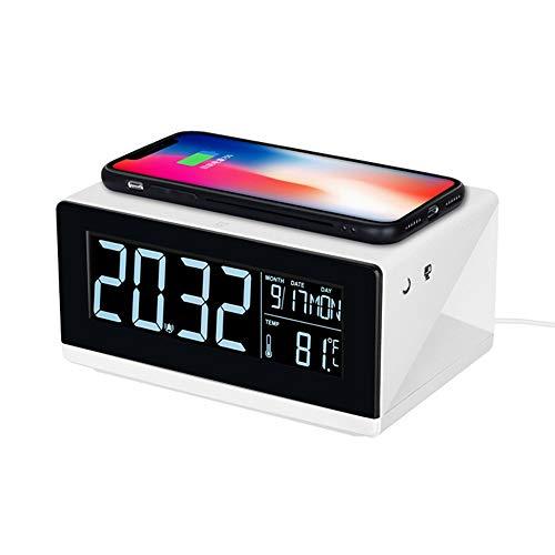Draadloze oplader met wekker, 2-in-1 10W snel draadloos laadstation, compatibel met iPhone 11 Pro Xs Max XR 8 Plus/Samsung S10 + S10e Note10 Plus