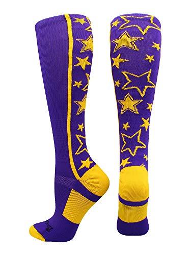 MadSportsStuff Crazy Socks with Stars Over The Calf Socks (Purple/Gold, Small)