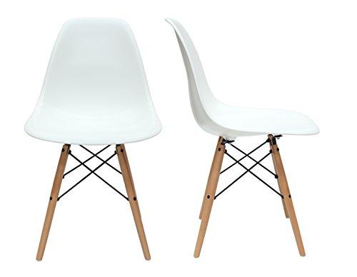 Aryana Home ARYASAM019 Stühle, 2 Stück, Eames-Nachbildung, Holz, Weiß