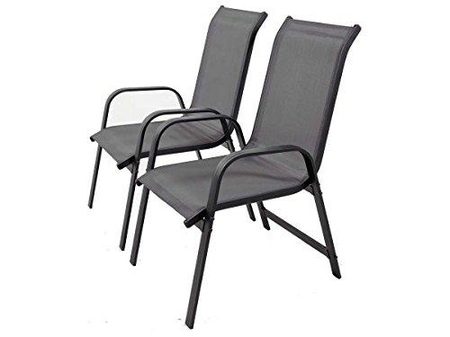 Juego de sillas para jardin textileno Porto- Phoenix - gris oscuro