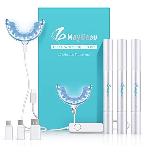 Teeth Whitening Kit Zahnaufhellung Set,Hochwertig 24X LED Licht mit 3 Zahnaufhellung Stifte Zahnbleaching Gel Bleichsystem für Weiß Zähne Zahnweiß Zahnreinigung Zahnpflege zu Hause