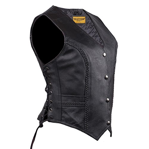 Women Long Cut Black Leather Motorcycle Vest With Braid on Front and Back (XL)