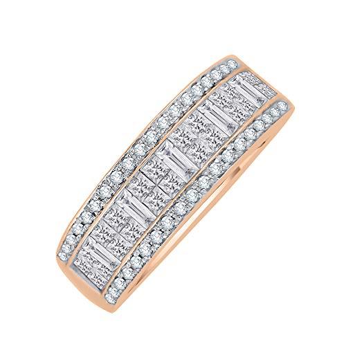 KATARINA Anillo de aniversario de diamantes de talla princesa y baguette en oro de 14 k (1 1/2 quilt, G-H, I2-I3)
