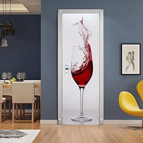 Tiertüraufkleber Selbstklebende Türaufkleber Weinglas 3D Pvc Selbstklebende Tapete Diy Wohnkultur Tür Aufkleber 77 * 200Cm