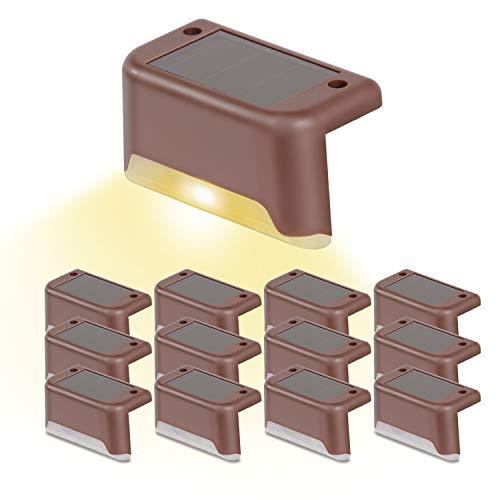 Solar Treppenbeleuchtung und Stufenbeleuchtung im Freien, solarbetriebene Stufen-LED-Leuchte, wasserdichte Solar-Zaunlampe mit Wandhalterung für Treppen, Gehweg und Terrasse, 8/12 Stück optional