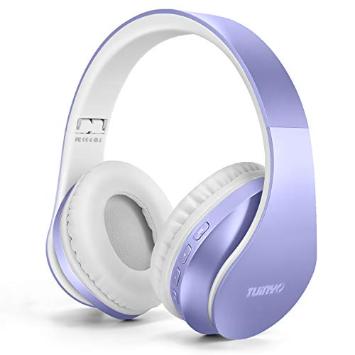 Bluetooth Headphones,TUINYO Wireless Headphones Over Ear with Microphone, Foldable & Lightweight Stereo Wireless Headset for Travel Work TV PC Cellphone-Purple