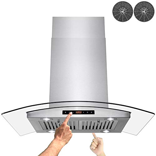 AKDY 36 in. Island Mount Stainless Steel Tempered Glass Kitchen Cooking Fan Range Hood Vent w/Dual Touch Control and Carbon Filters
