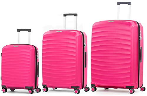 Rock Sunwave 3 Piece Set (55/66/79cm) Expandable Hard Shell Suitcase Pink