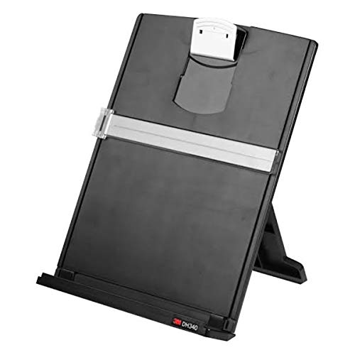 3M Desktop Document Holder Copy Holder, Adjustable Clip Holds Portrait and Landscape Documents for Easy Viewing, Bottom Ledge Has Lip to Keep up to 150 Sheets Securely in Place, Black (DH340MB)
