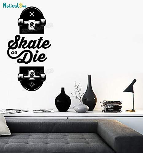 ASFGA Outdoor-Skateboarding Extremsport Vinyl Aufkleber Slogan Skateboard einzigartige kreative Geschenkkunst Teen Schlafzimmer Wandbild Glas Aufkleber Auto Aufkleber 42x81cm