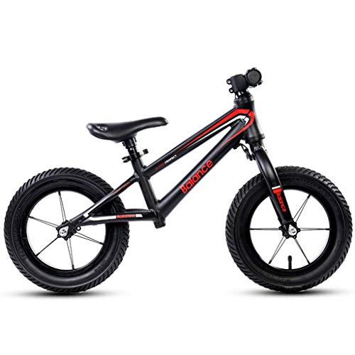Laufräder Balance Bike 4 Year Old - Mini Early Rider Push Bike für Kindermädchen, 12 Zoll Luftreifen, Weiß Schwarz (Color : Black)