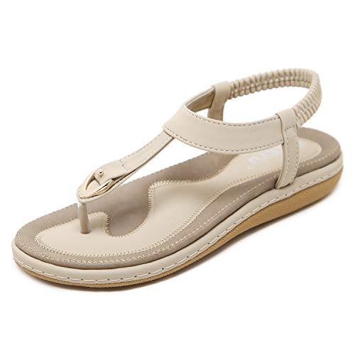 Zapatos de Sandalias de Verano para Mujer Zapatos Peep-Toe Bajos Sandalias Romanas Chanclas para Damas Tamaño Albaricoque EU 40