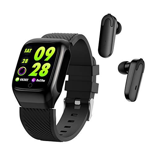 skrskr Smartwatch 2 in 1 Auricolari Tracker Fitness True Wireless Bluetooth 5.0 Cuffie Pedometro Contatore Calorie Contatore attività Braccialetto Intelligente Fascia da Polso Cardiofrequenzimetro