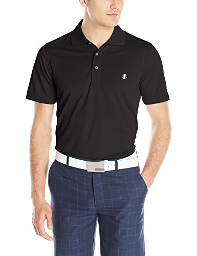 IZOD Men's Performance Golf Grid Polo, Black, Large