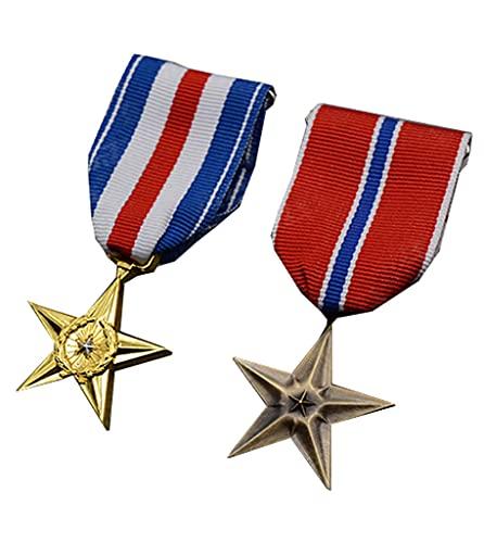 JXS Recuerdos de la Insignia Americana de la Segunda Guerra Mundial, Insignia de Medalla de Estrella de Plata y Estrella de Bronce, reproducción 1: 1, Insignia de Material de aleación