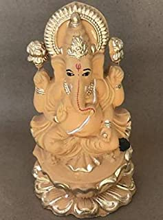 BHARAT ONLINE - SECURE PACKAGING Ganesha Clay Statue for Ganesha Chaturthi Puja Immersion Hand Made 6.5 inches
