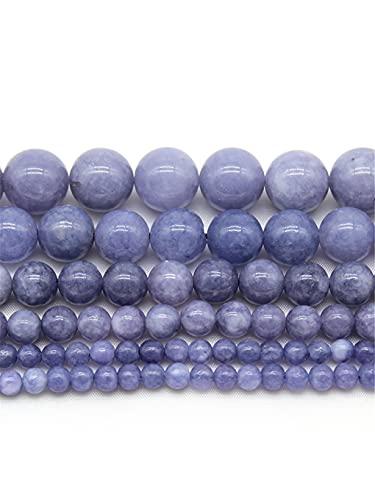 Perlas de piedra de amatista de lavanda natural cuentas espaciadoras sueltas para hacer joyas ajuste collar pulsera DIY joyería 4 6 8 10 12 mm púrpura 6mm aproximadamente 63beads